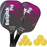Bullpickpro Pickleball Paddle Set of 2 Graphite Pickle-Ball Racket Polypropylene Honeycomb Core Lightweight