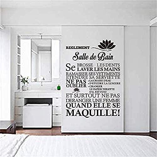 Pegatinas de pared Calcomanías creativas Cita Papel tapiz Reglas de baño Cartel típico Moda familiar Pintura simple 56x80cm