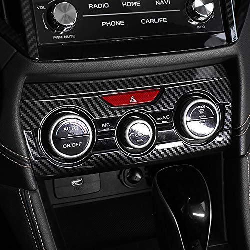 Kadore Black ABS Carbon Fiber Color Interior Console Dashboard Panel Air Condition Cover Trim for 2018 2019 2020 2021 Subaru Crosstrek XV Impreza