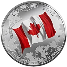 2015 Special Mint $25 Fine Silver Coin – 50th Anniversary of the Canadian Flag - Made by the Royal Canadian Mint $25 Perfect Uncirculated
