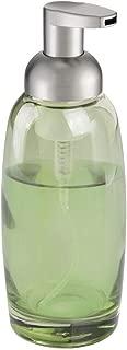 mDesign Modern Glass Refillable Foaming Soap Dispenser Pump Bottle for Bathroom Vanity Countertop, Kitchen Sink - Save on Soap - Vintage-Inspired, Compact Design - Green/Brushed