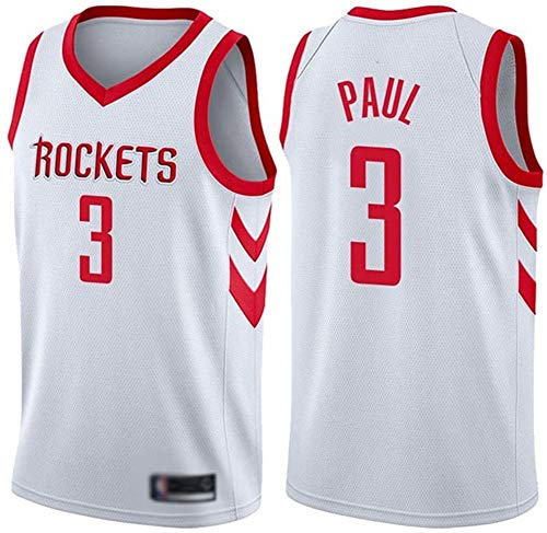 GLACX Ropa de Baloncesto para Hombre, Houston Rockets 3# Paul Classic Jersey, Fresco Tela Transpirable Retro Deportes Camisetas, Fan Unisex Swingman Jerseys,M