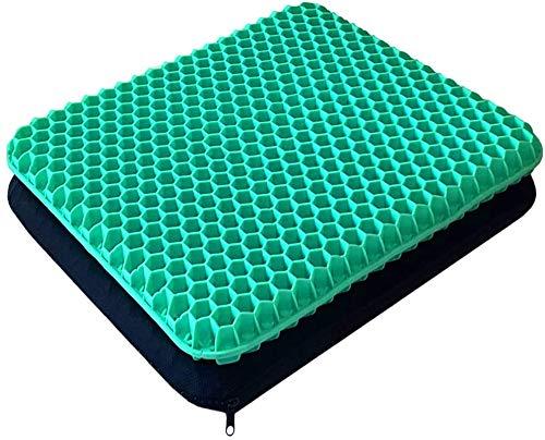 Cojín de gel de doble capa grueso, alivia el dolor de espalda y ciática, cojín de asiento de coche, oficina, silla de ruedas y silla, diseño transpirable, duradero, portátil (verde)