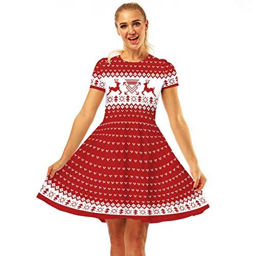 YBWZH 2019 Kleider Damen Weihnachtskleid Schneemann Weihnachten 1950er Jahre Notizen Druck Vintage Kostüm Swing Party Süßes Kleid Kurzärmliges Abendkleid A-Linie Cocktailkleid Midikleid