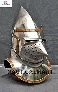 NAUTICALMART Great Bascinet SCA LARP Knight Helmet Medieval Steel Armor Helmet