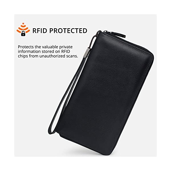 Women RFID Blocking Wallet Leather Zip Around Phone Clutch Large Travel Purse Wristlet 3