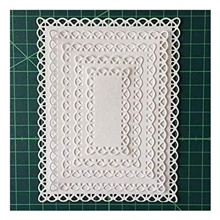 Stitched Rectangle Scallop Frame Metal Cutting Dies Scrapbooking Steel Craft