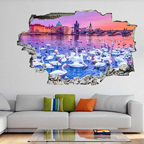 HUJL Wandtattoo Swans 3D Wall Art Sticker Mural Decal Poster Home Decor