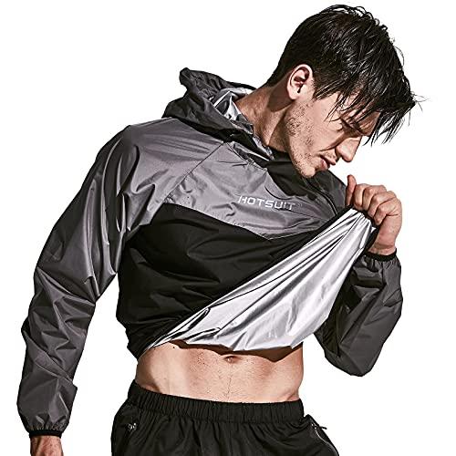 HOTSUIT Sauna Suit Men Weight Loss Jacket Pant Gym Workout Sweat Suits, Gray, L