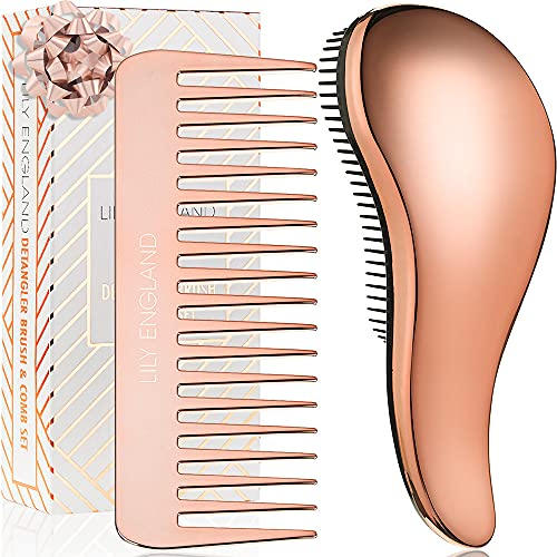 Detangler Brush and Comb Set -...