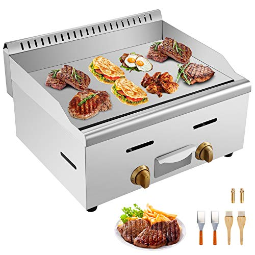 """VBENLEM 22"""" Commercial Griddle Grill Non-Stick Gas Countertop Griddle Grill Supports LPG & LNG Stainless Steel Flat Top Grill 2-Burner 60,000 BTU Natural Gas Griddle Electric Griddles"""