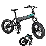 TUKING Electric Mountain Bike Folding Electric Bicycle 20x4 Inch Fat Tire, 12.5Ah Li-Battery (Removable), Shock Absorption, 3 Gears 7-Speed Disc Brakes, for Adults Men Women(Black)