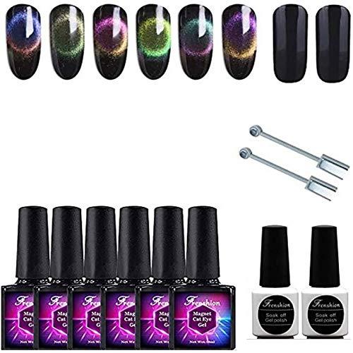 Frenshion 6Pcs 9D 10ML magnetisches Gel tränken weg UV LED Katzenauge Farben Gel Nagellack mit 2X doppeltem Punkt-Magneten und 7.3ML schwarzem Mantel