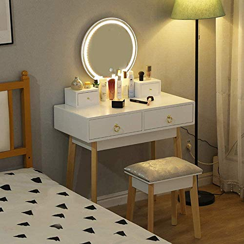 Tocador con Espejo, luz LED, Brillo Ajustable, Juego de taburetes para Mesa de Maquillaje, tocador Moderno, Taburete Acolchado con Organizador de Maquillaje