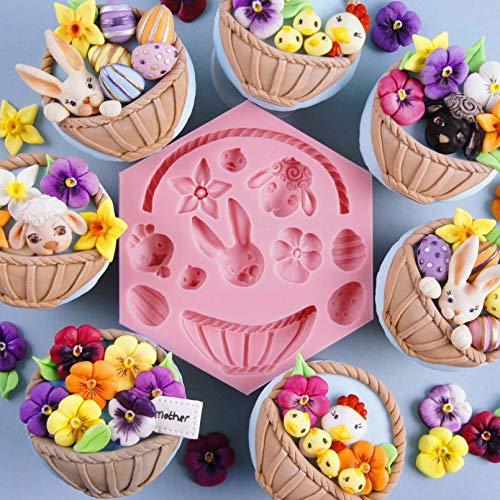 CSCZL DIY Conejito de Pascua Huevo Chocolate Fondant moldes Herramientas de decoración de Pasteles Canasta de Flores Animales Cupcake Dulces moldes de Arcilla
