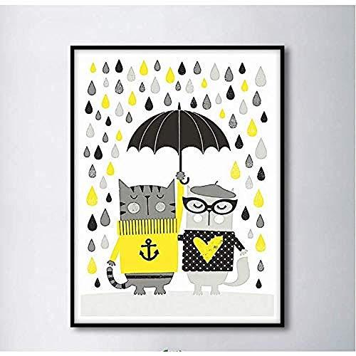 Generic Katze fängt Regenschirm im Regen Home Decor Kunst Leinwand Malerei Wohnzimmer 50x70cm kein Rahmen