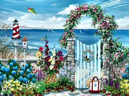 Digital painting of seaside scenery pictures, hand-painted art gift set, DIY home decoration, suitable for adults D-4 60x80cm