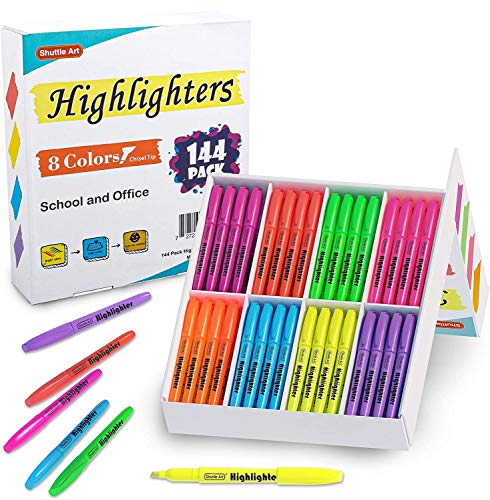 144 Pack Highlighters, Shuttle Art Highlighters Assorted Colors...