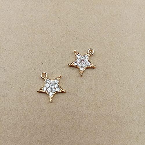 LLBBSS 10 Unids Oro Metal Esmalte Cristal Rhinestone Forma De Estrella Encantos para Collar Pendientes Colgante Material De Bricolaje Accesorios