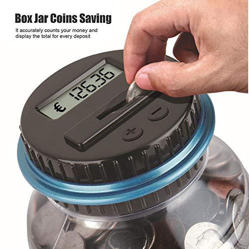 Colorful Digitale Münze Bank Sparglocke Automatische Münzzähler Piggy Bank Große Kapazität Geld sparen Box LCD Display 2,5L große Kapazität für Euro Münzen