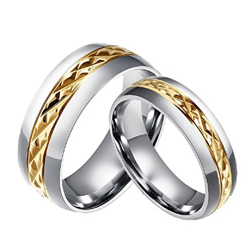 ROWAG Novelty Gold Plated 8MM Men Titanium Stainless Steel Couple Wedding Bands for Him and Her 6MM Women Promise Engagement Rings