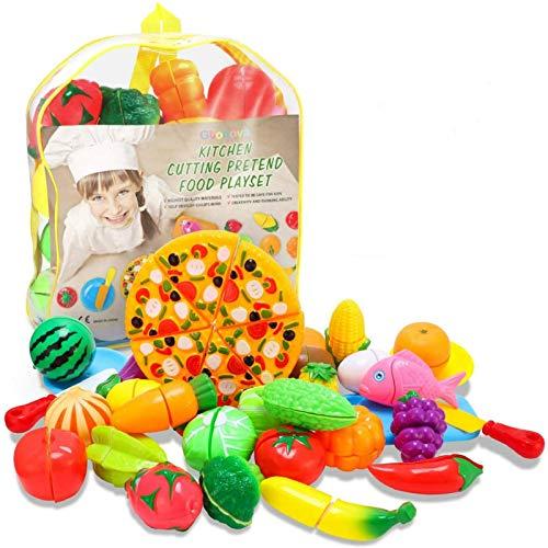 Glonova 37 Piezas Alimentos de Juguetes, Corte de Frutas y Alimentos Falsos Juego de Comida Corte de Frutas Verduras Cocina de Juguete con Mochila para Niños