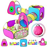 5pc Kids Play Tent for Toddler with 1 Baby Ball Pits, 2 Baby Crawl Tunnels, 2 Pop Up Tents, Indoor Outdoor Playhouse Toys for Boys/Girls, Gift Target Game with 4 Dart Balls
