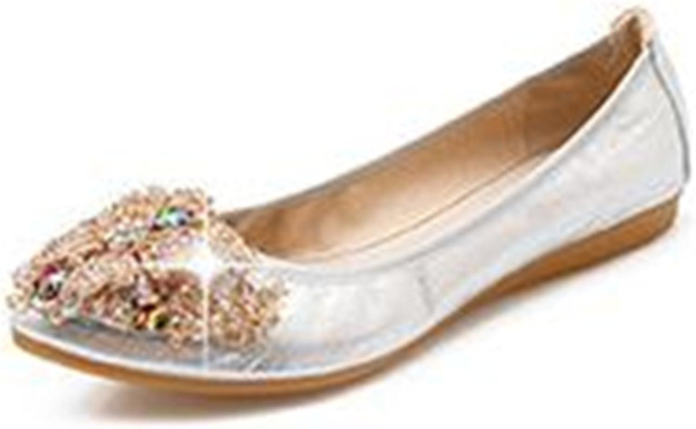 Hanglin Trade Women's Closed Toe Bowknot Slip On Comfort Ballet Flat Dress shoes