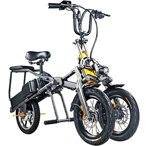 XWQXX Vespa eléctrica Plegable de Tres Ruedas, Bici eléctrica Plegable de Tres...