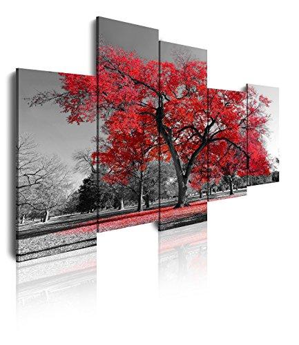 DekoArte 16 - Quadri Moderni Stampa di Immagini Artistica Digitalizzata | Tela Decorativa per Soggiorno o Stanza da Letto | Stile Paesaggio Alberi Rossi Natura| 5 Pezzi 150 x 100 cm