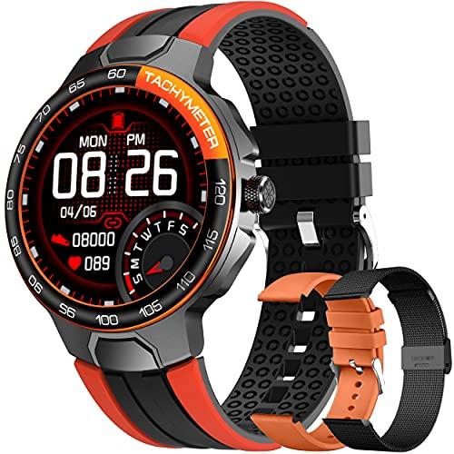 Smartwatch Relojes Inteligentes Hombre, Reloj Inteligente con Pulsómetro, Cronómetros, Calorías, Monitor de Sueño, Impermeable IP68 Reloj Deportivo para Android iOS (Naranja)