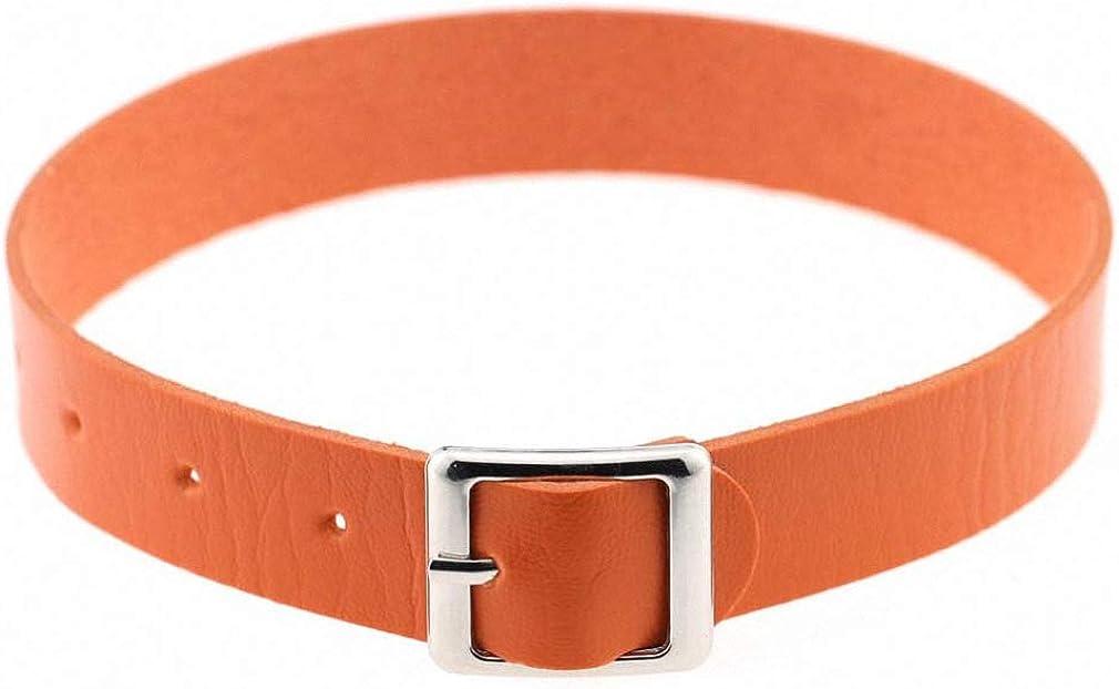 Xileg Belt Collar Choker Necklace PU Leather Choker Punk Goth 412 cm