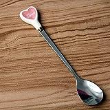Cuchara de café de acero inoxidable en forma de corazón Postre Cuchara agitadora de azúcar Yogurt de helado Cuchara de miel Regalo de cocina   Cucharadas de café  