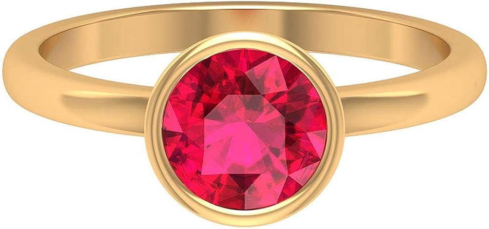 Minimalist July Birthstone Overseas parallel import Regular discount regular item Ring Round Shape U Ruby 1.6 CT