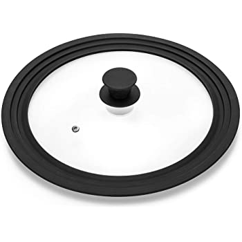 """Universal Lid for Pots,Pans and Skillets - Tempered Glass with Heat Resistant Silicone Rim Fits 10.5"""", 11"""" and 12"""" Diameter Cookware,Black"""