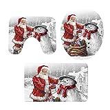 3pcs Santa Claus muñeco de Nieve baño Mat Conjunto de baño WC Navidad Kit de la Cubierta de Navidad de Vacaciones Piso Moqueta