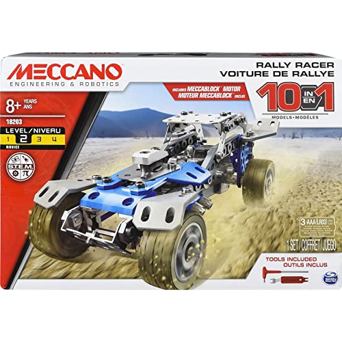 Erector by Meccano 10 in 1 Rally Racer Model Vehicle Building Kit, STEM Education Toy for Ages 8 & up