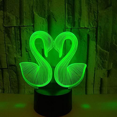 Siete Color Cisne 3D Creative Vision Nightlight 3D Estéreo Lámparas de Mesa Venta Caliente Escritorio Creativo Moderne 3D Lámpara de Escritorio