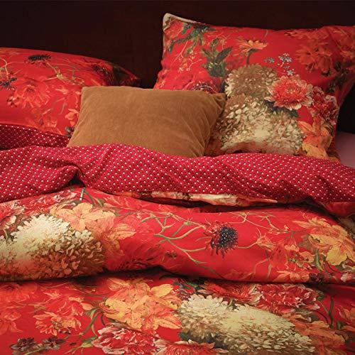 Essenza Bettwäsche Maily Duvet I Größe 155x220 80x80 cm I Farbe Red