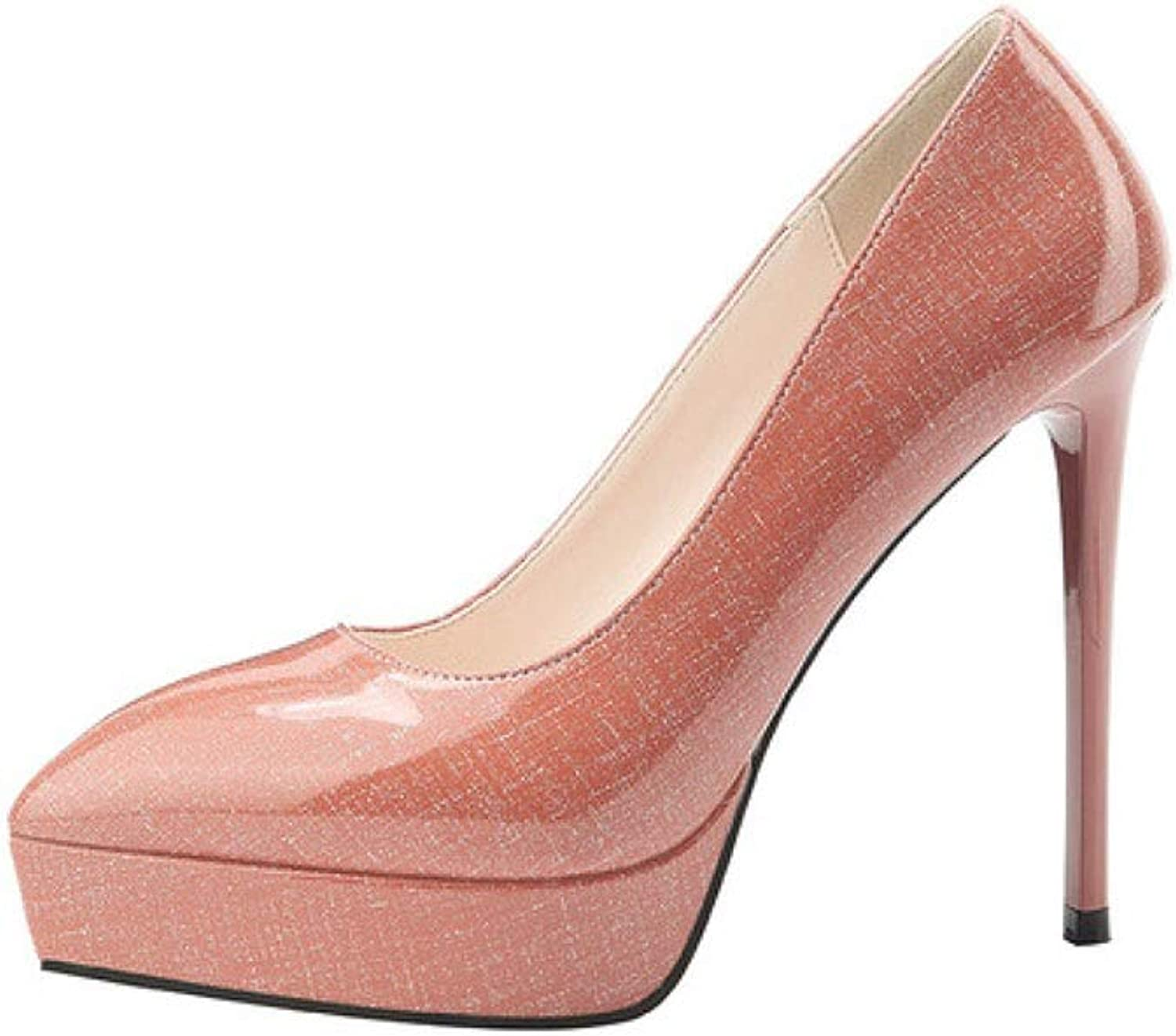 SXHDMY High-Heeled Women's Rubber Fashion Beautiful Sexy Stiletto Work shoes Spring and Summer 12.5CM 4 colors high Heels (color   Z-1, Size   EU38 UK5.5 CN38)
