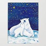 Beaxqb Pintar por Numeros Adultos, Oso Polar DIY Pintura al óleo para Niños y Adultos Principiantes Lona Lienzo Regalo de Pintura para 40x50cmSin Marco