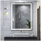 Keonjinn 36 x 28 Inch LED Mirror Bathroom Mirror with Lights, LED Vanity Mirrors, Wall Mounted Anti-Fog Dimmable LED Lighted Makeup Mirror, Adjustable White/Warm/Natural Lights(Horizontal/Vertical)