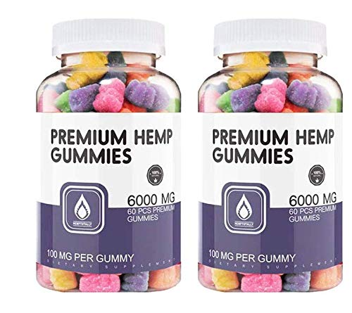 (2 Pack) Hemp Gummies Premium 60000 mg High Potency - 100 Per Fruity Gummy Bear with Hemp Oil
