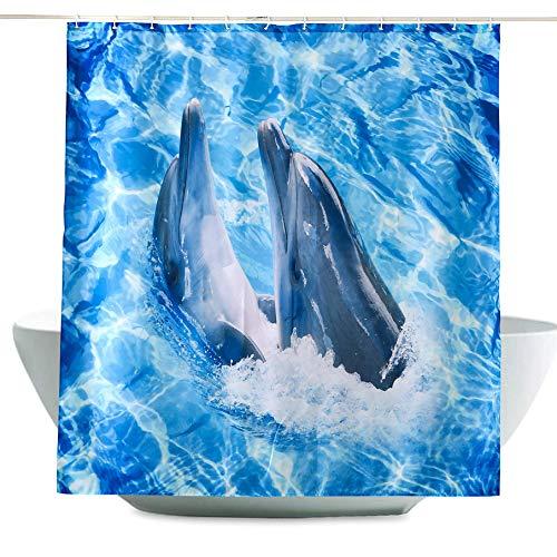 ENCOFT Tenda Doccia Antimuffa Impermeabile Tessuto in Poliestere Tenda per Vasca da Bagno con 12 Ganci, Stampa Delfino Blu 240x200cm
