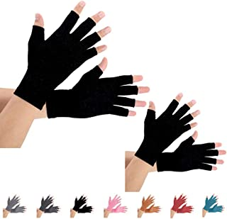 Best 2 Pairs Arthritis Compression Gloves for Arthritis Pain Relief, Rheumatoid, Osteoarthritis and Carpal Tunnel for Men and Women, Fingerless for Typing (Pure Black, Medium) Review