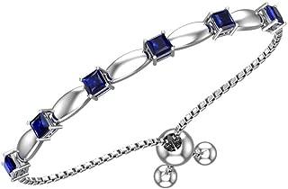 Womens Sterling Silver 6 Sparkling Square Bolo Gemstone Bracelet