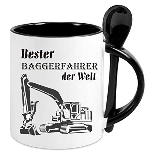 Creativ Deluxe Kaffeetasse m. Löffel - Bester Baggerfahrer der Welt - Kaffeetasse mit Motiv, Bedruckte Tasse mit Sprüchen o. Bildern - auch indiv. Gestaltung nach Kundenwunsch