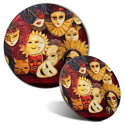 Juego de alfombrillas para ratn y posavasos  Mscaras venecianas tradicionales adornadas de 20 cm y 9 cm para ordenador y porttil, oficina, regalo, base antideslizante #16255