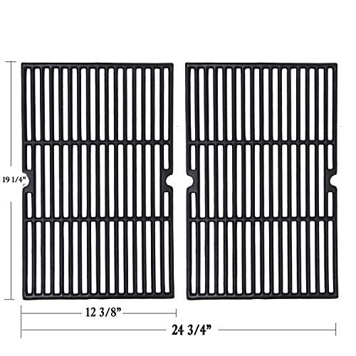 GGC 19 1/4 Inch Grill Grate Replacement for Charmglow BBQ Grillware Kenmore Nexgrill Weber Jenn-Air Others, 2-Pack Porcelain Coated Cast Iron Cooking Grid (12 3/8' x 19 1/4' for Each)