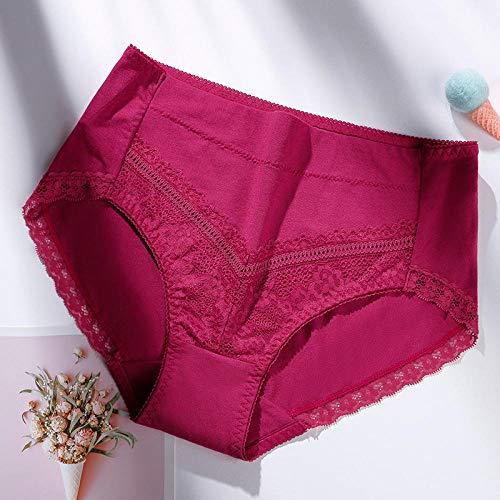 Fuduoduo Bragas del PeríOdo Menstrual AlgodóN,Bragas de Cintura Media de Encaje sin Costuras para Mujer-Rosa roja 5pcs_XL #,Braguitas Culotte Algodón para Mujer